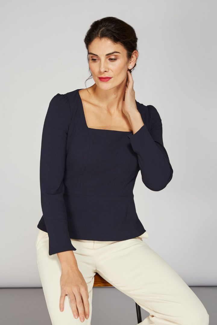 Alice Fawke - top made for large busts - Nadia top - navy