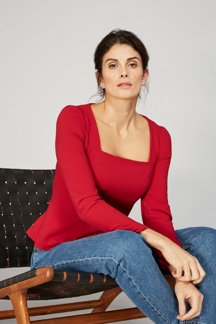 Alice Fawke - top made for big busts - Nadia top - red