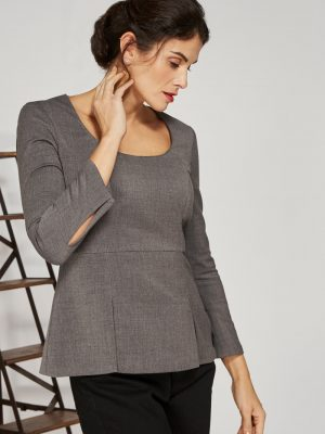 Alice Fawke - scoop neck top for a large bust - Nana top - grey
