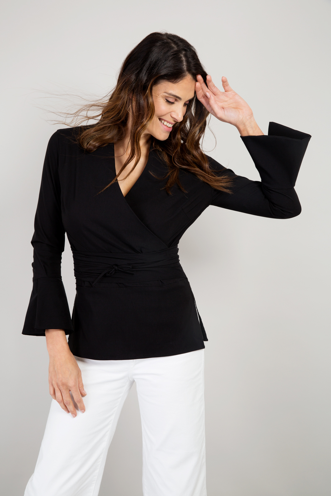 Alice Fawke - shirt for a bigger bust - Tina wrap shirt - black