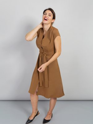 Alice Fawke - dress for curves - Charlotte dress - toffee coloured