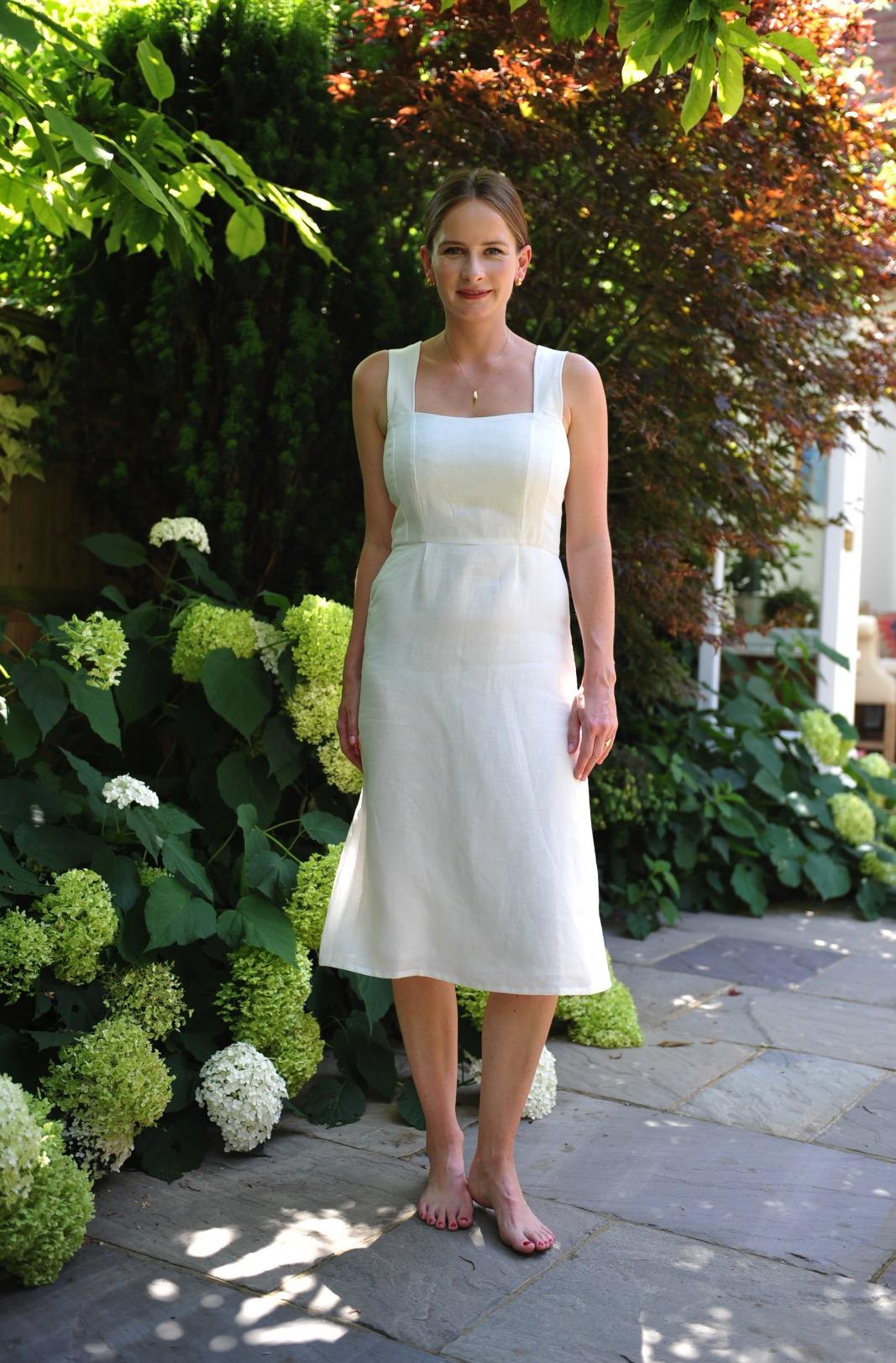 ivory linen midi dress for fuller busts